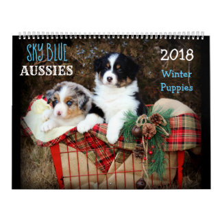 SKy Blue Aussies WINTER Puppy 2018 Calendar