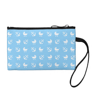 Sky blue baby boy nautical pattern coin purse