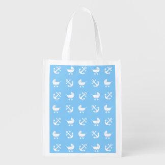 Sky blue baby boy nautical pattern reusable grocery bag