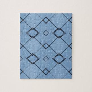 Sky Blue Background Modern Black Geometrical Jigsaw Puzzle