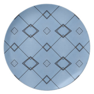 Sky Blue Background Modern Black Geometrical Plates