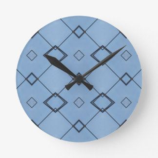 Sky Blue Background Modern Black Geometrical Wall Clock