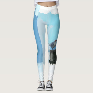 Sky Blue Bird Leggings - Ocean Birds