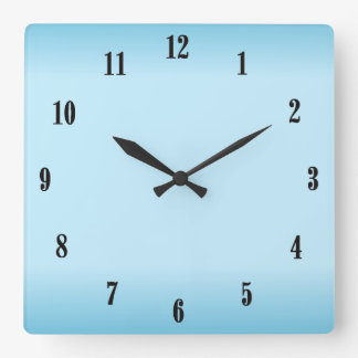 Sky Blue Black Numbers Square Wall Clock