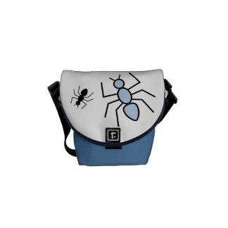 Sky Blue & Black Vector Ants Messenger Bag