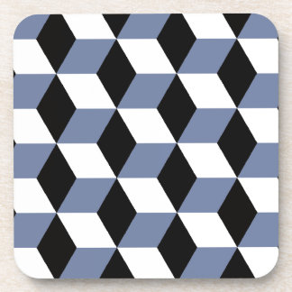 Sky Blue Black & White 3D Cubes Pattern Coaster