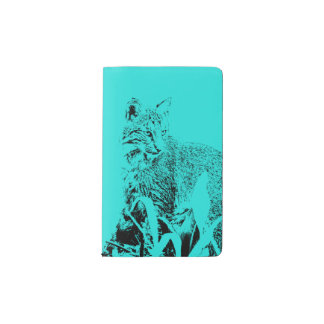 Sky Blue Bobcat Portrait Notebook Cover