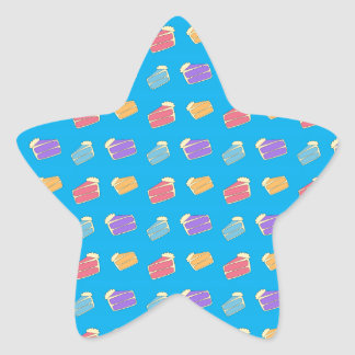 Sky blue cake pattern star sticker