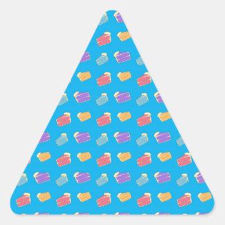 Sky blue cake pattern triangle sticker