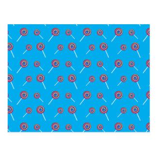 sky blue candy pattern postcard