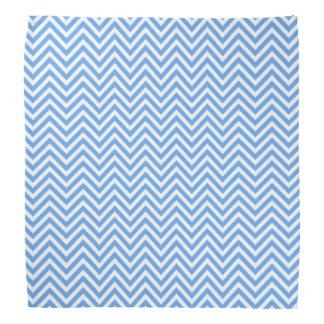 Sky Blue Chevron Design Polyester Bandana Scarf
