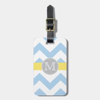 Sky Blue Chevron Lemon Stripe Monogram Luggage Tag
