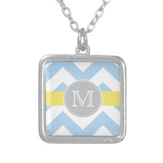 Sky Blue Chevron Lemon Stripe Monogram Necklace