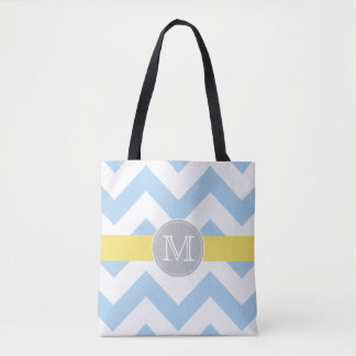 Sky Blue Chevron with Lemon Accent and Monogram Tote Bag