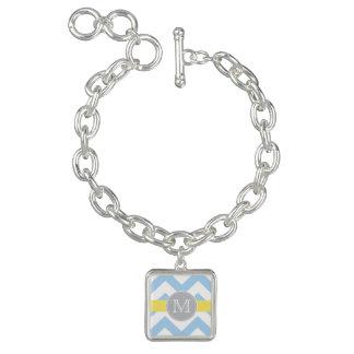 Sky Blue Chevron with Lemon Stripe Monogram Charm Bracelets