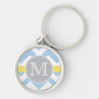 Sky Blue Chevron with Lemon Stripe Monogram Gift Keychain
