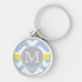 Sky Blue Chevron with Lemon Stripe Monogram Gift Silver-Colored Round Keychain