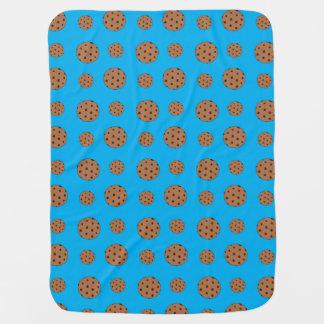 Sky blue chocolate chip cookies pattern baby blanket