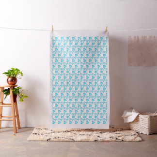 sky blue color heart pattern cotton fabric