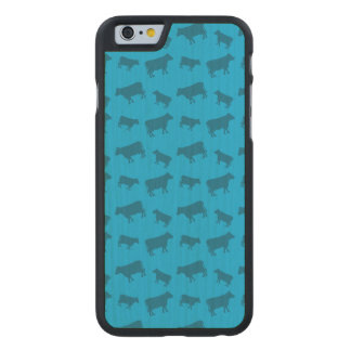 Sky blue cow pattern carved® maple iPhone 6 slim case