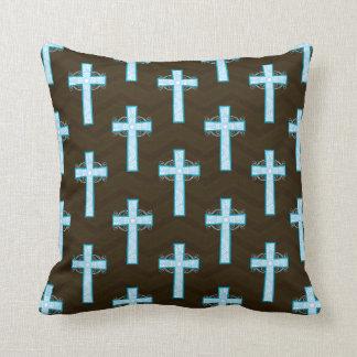 Sky Blue Cross on Brown Chevron Throw Pillow