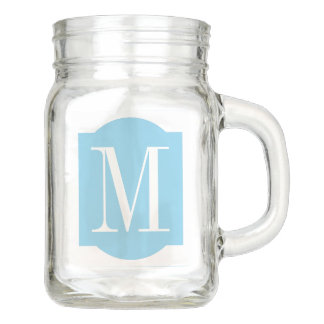 Sky Blue Customize Color and Monogram Mason Jar