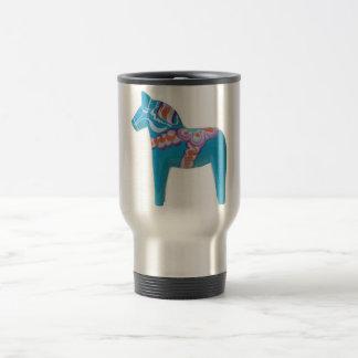 Sky Blue Dala Horse Travel Mug