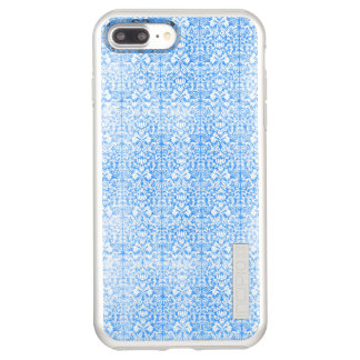 Sky Blue Damask Weathered  Pattern Incipio DualPro Shine iPhone 7 Plus Case