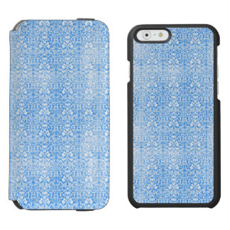Sky Blue Damask Weathered  Pattern Incipio Watson™ iPhone 6 Wallet Case