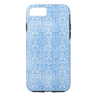Sky Blue Damask Weathered  Pattern iPhone 8/7 Case