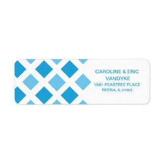 Sky Blue Diamond Check Custom Personalized Return Address Label