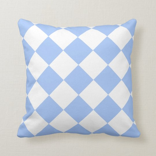 Sky Blue Diamond Pattern Throw Pillow