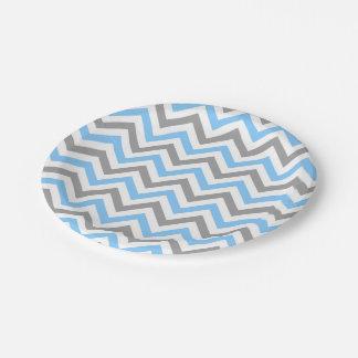 Sky Blue, Dk Gray Wht Large Chevron ZigZag Pattern Paper Plate