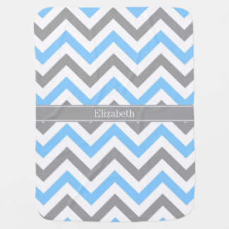 Sky Blue Dk Gray Wht LG Chevron Gray Name Monogram Baby Blanket