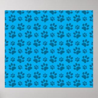 Sky blue dog paw print pattern