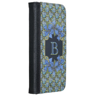 Sky Blue Forget-me-not Wildflowers Monogram iPhone 6 Wallet Case