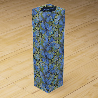 Sky Blue Forget-me-not Wildflowers Wine Bottle Boxes