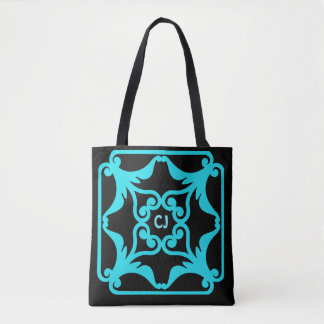 Sky Blue Four Hearts Flower Bordered Pattern Tote Bag