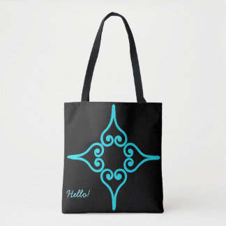 Sky Blue Four Hearts Flower Pattern Tote Bag
