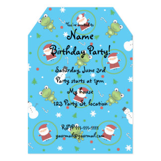 Sky blue frogs santa claus snowman pattern 5x7 paper invitation card