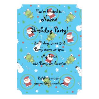 "Sky blue frogs santa claus snowman pattern 5"" x 7"" invitation card"