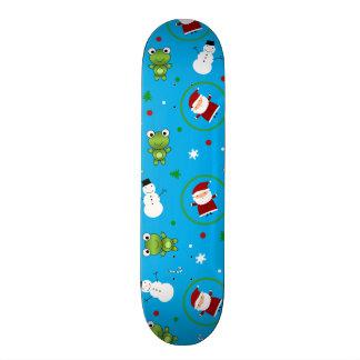 Sky blue frogs santa claus snowman pattern skateboard