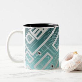 Sky Blue Geometric Circuit Board Two-Tone Coffee Mug