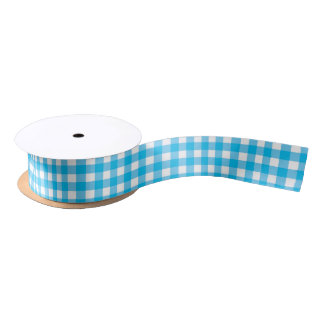 Sky Blue Gingham Medium Satin Ribbon