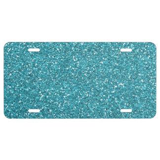 Sky Blue Glitter License Plate