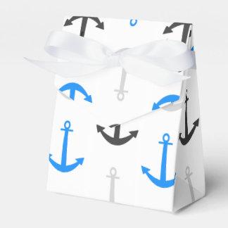 Sky Blue, Gray, Anchors; Nautical Wedding Favor Box