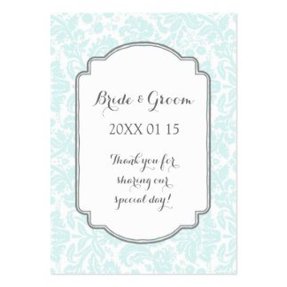 Sky Blue Grey Damask Wedding Favor Tags Pack Of Chubby Business Cards