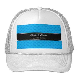 Sky blue hearts wedding favors trucker hat