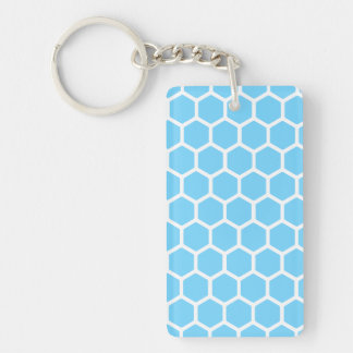 Sky Blue Hexagon 2 Double-Sided Rectangular Acrylic Keychain