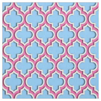 Sky Blue, Hot Pink Moroccan Quatrefoil #5DS Fabric